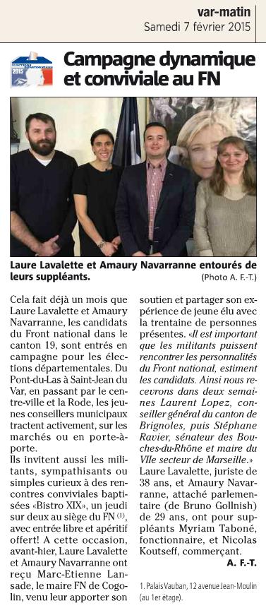 Amaury Navarranne, Front National, Toulon, Laure Lavalette,